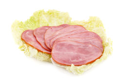 Ham on lettuce Royalty Free Stock Photo