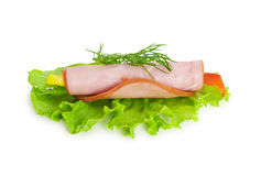 Ham and lettuce on white Royalty Free Stock Photo