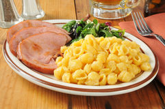 Ham with macaroni and cheese Royalty Free Stock Photo