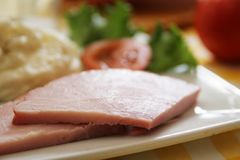 Ham and mashed potatoes Stock Image