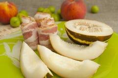 Ham and melon Stock Photo