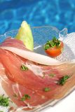 Ham with melon Stock Images