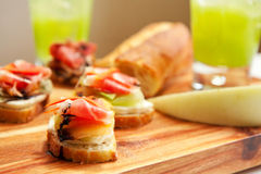 Ham and Melon Appetizers Royalty Free Stock Photos