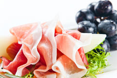 Ham with melon Royalty Free Stock Photos