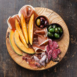 Ham, melon and olives Royalty Free Stock Photo