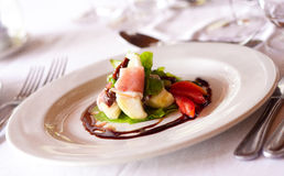 Ham and Melon Salad. With a Balsamic Reduction Royalty Free Stock Photography