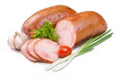 Ham met groene uien Royalty-vrije Stock Foto