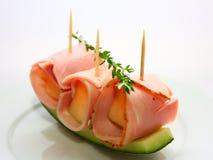 Ham met meloen stock fotografie