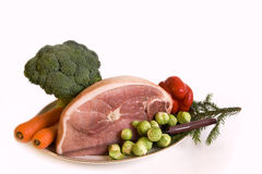 Ham & mixed raw vegetable Stock Image
