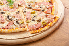 Ham and Mushroom Pizza with Olives Royalty Free Stock Photo