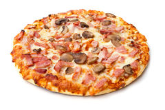 Ham and mushroom pizza on white Stock Photo