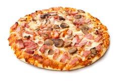 Ham and mushroom pizza on white Stock Photo