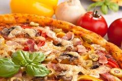 Ham, Mushroom and Vegetable Pizza Stock Images