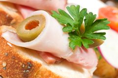 Ham and olive canape Royalty Free Stock Photos