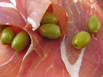 Ham and Olives. Ham and fresh green olives Stock Image