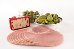 Ham olives and cheese royalty free stock image
