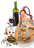 Ham, olives, wine and nuts Royalty Free Stock Photo
