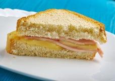 Ham Omelet Grilled Cheese Sandwich imagem de stock royalty free