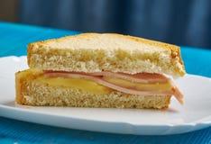Ham Omelet Grilled Cheese Sandwich fotografia de stock