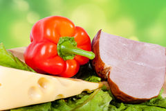 Ham, onion, cheese and pepper Royalty Free Stock Images