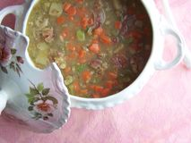 Ham and Pea soup - top view stock image