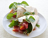 Ham, Peach and cheese wrap Royalty Free Stock Photo