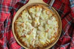 Ham and pineapple hawaiian pizza Royalty Free Stock Photography