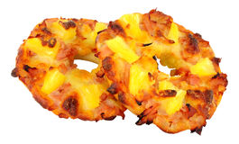 Ham And Pineapple Pizza Bagels Fotografie Stock Libere da Diritti