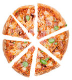 Ham and Pineapple Pizza Slices over white Royalty Free Stock Images