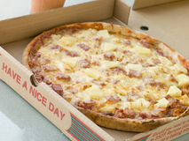 Ham and Pineapple Pizza in a Take Away Box Royalty Free Stock Photography
