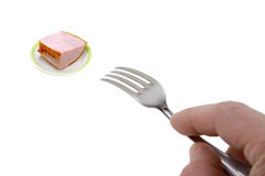 Ham on a plate. On a white background Stock Photography