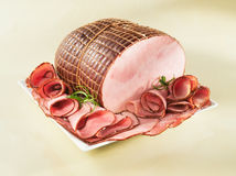 Ham on a plate Royalty Free Stock Image
