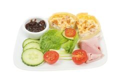 Ham and quiche salad Stock Image