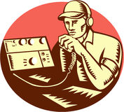Ham Radio Operator Circle Woodcut Royalty Free Stock Photo