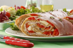 Ham and red pepper roll Stock Images