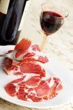 Ham and red wine stock photo