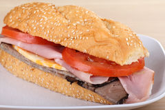 Ham and Roast Beef Sandwich Stock Photos