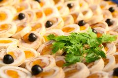 Ham roll with dried apricots, olives and parsley. Stock Photo