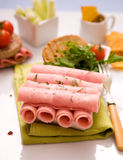Ham rolls. Ready to eat Royalty Free Stock Photo