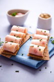 Ham rolls. Appetizer from ham rolls on bread Stock Images