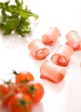Ham rolls. On white background Stock Photos