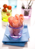 Ham rolls. In a cup Stock Images