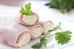 Ham rolls. Ready to eat Royalty Free Stock Image