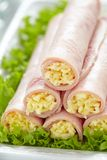 Ham rolls stuffed with cheese and garlic Stock Image