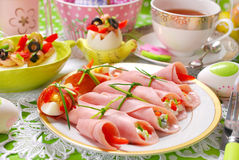 Ham rolls stuffed with cheese and vegetables for easter breakfas Stock Images