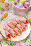 Ham rolls stuffed with cheese and vegetables for easter breakfas Stock Photography
