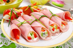 Ham rolls stuffed with cheese and vegetables Stock Image