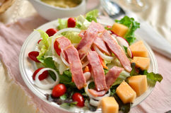 Ham salad. Fresh salad from vegetables, cheese and ham Royalty Free Stock Images