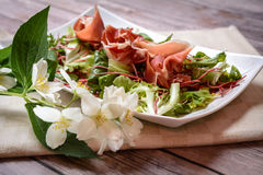Ham and Salad Appetizer Royalty Free Stock Images