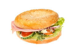 Ham salad bagel Royalty Free Stock Images